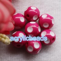 50PCS Factory 18MM Chunky Acrylique Gumball Polka Dot Round Resin Beads Plastic Bubblegum Balls Jewelry Making DIY
