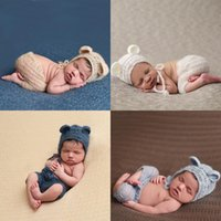 Wholesale Crocheted Bear - European Style Newborn Photography Clothing Baby Photography Mohair Manual Weave Little Bear Clothes & Accessories Photo Props