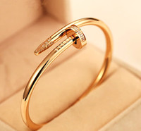 Wholesale Diamond Nail Ring Jewelry - Nail jewelry diamond bracelet couple models 18k rose gold Bangle bracelet and rings Korean star the same paragraph you want titanium steel