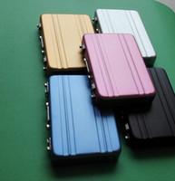 mini cartão mala venda por atacado-Caixa de senha de alumínio Caixa de cartão Mini mala Maleta de senha Preto