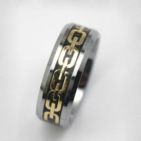 Wholesale Gold Comfort Fit Wedding Band - Fashion new Gold plated design Tungsten Ring Comfort Fit Wedding Band for Mens Jewelry size 8, 10, 11, 12, 14