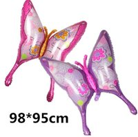 ingrosso felice farfalla-2pcs / lot 39inch grandi palloncini foil farfalla rosa elio palloncino buon compleanno festa decorazione di nozze palle bambini regalo per bambini