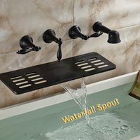 Wholesale Bathroom Waterfall Wall Spout - Wholesale And Retail Wall Mounted Bathroom Tub Faucet Oil Rubbed Bronze Waterfall Spout W  Soap Dish Holder Hand Shower Sprayer