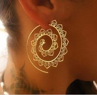 Wholesale gear love - New Fashion Round Spiral Earrings Gold Color Cute Love Heart Whirlpool Gear Earrings for Women