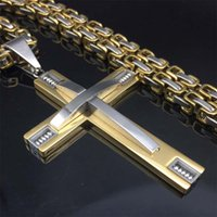 Wholesale Knights Pendant - Hiphop rock Stainless Steel Chain 3 Layer Knight Cross Silver Gold color Mens Necklace Pendant Byzantine chain