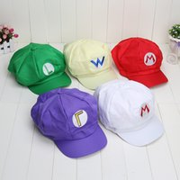 Wholesale Luigi Plush Hat - Wholesale-Super Mario Caps Cotton hat Red Mario and luigi cap 5 colors Anime Cosplay Buckle Hats children Adult Hats Caps plush toys