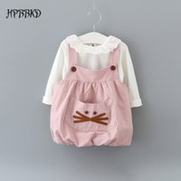 Wholesale Baby Shirt Straps - Wholesale- New 2017 autumn baby girl clothing Sets fashion cotton long sleeve T-shirt and cartoon strap dress girls clothes GD-462 baby set