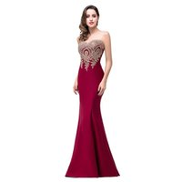 Hot selling Mermaid Sheer Neck Burgundy Satin Cheap Long Evening Dresses christmas dress Robe De Soiree Formal Evening Gown Party Dress DK0547BK