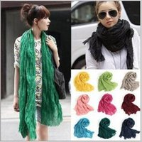 Wholesale Crinkle Cotton Scarves Wholesale - Women Voile Pure Scarf Drape Candy Color Shawl Crinkle Wrap Pleated Beach Silk Scarves Twisted Plain HeadScarf Cotton Linen Pashmina B1571