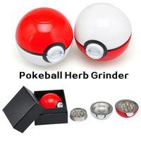Wholesale Herb Retail - Pokeball Tobacco Grinder 55mm Diameter Poke Ball Herb Grinders Metal Zinc Alloy Metal 3 Parts Smoking Accessories With Retail Box 3002022