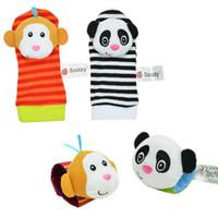 Wholesale Infant Socks Rattles - Wholesale- sozzy Baby Infant Toy Cute Cartoon Soft Handbells Hand Wrist Strap Rattles Animal Socks Developmental Toys Educational Toys gift