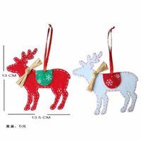 Wholesale Craft Beige Ribbon - Wholesale-2016 New 2 PCS Christmas Tree Deer Decor Ornaments with Ribbon Christmas Party Decoration DIY Craft Elk