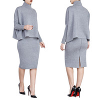 Wholesale Long Turtleneck Dress For Women - New Womens Sexy Two Piece Sets Fashion Gray Turtleneck Long Sleeve Tops and Skirts 2 piece Set Clothing For Woman Split Two piece Suits XL