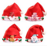 Wholesale Santa Hat Beanie - Christmas decorations Ornaments christmas hats 2018 Santa Claus Hat Kids Hats Christmas Gifts Kids Cap Cartoon Cap