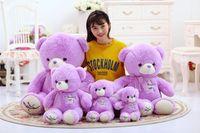 Wholesale Lavender Girl Doll - 3 sizes Lovely Lavender Bear Purple Green Teddy Bear Plush Bear Toys Stuffed Doll Birthday Gift for Kids Girls SA1098