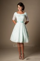 Wholesale Satin Sash Mint Green - Bridesmaid Dresses 2017 Cheap Lace Short For Weddings Mint Scoop Neck Half Sleeves Sashes Plus Size Zipper Back Formal Maid of Honor Gowns