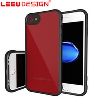 Wholesale Transparent Mobile For Sale - LEEU DESIGN mobile case for iphone 7 plus Back Cover Transparent acrylic + Soft TPU Frame case for iphone 7 anti shock for sale