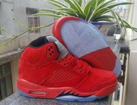 Wholesale Mens Winter Snow Suits - New 2017 Mens Red Suede Retro 5 Flight Suit V Basketball Shoes Low Men Raging Bull Basketball Shoes Retro 5 Sport Shoes Training Sneakers