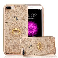 Wholesale Glitter Diamond Rings - Luxury 3D Diamond With Rhinestone TPU Case Ring Holder Glitter Cover For iPhone7 6s 6 Plus 5 5s SE Opp Bag