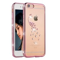 Vente en gros Pendentif en or rose Bling Diamond Mignon Peacock Shell Swan Phone Case pour Iphone 6 6s 6 Plus Crystal Clear TPU Soft Covers
