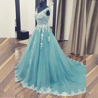 Wholesale Dusky Pink - Dusky Blue Tulle Arabic Dresses 2017 Unique A Line Evening Gown Prom Dress V Neck Sleeveless Lace Appliques Formal Gowns with Sweep Train