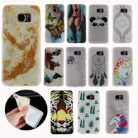 Étui TPU Soft Relief Soft pour Galaxy S8 S7 Edge (A3 A5 J3 J5 J7) 2016 2017 Marbre Panda Wolf Sunflower Butterfly Tiger Unicorn Cover