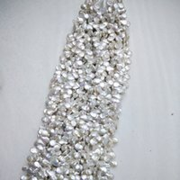 Wholesale manufacturing coins resale online - Zhuji Home Decoration mm Natural Freshwater Pearl Semi manufacture Baroque Coin Drop Shape Pearl Strand