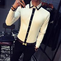 trajes de club blanco negro al por mayor-2017 camisas blancas al por mayor del Mens Club vestido Trajes Negro hombre de la camisa del bloque del color Camisa Social Slim Fit Moda Chemise Homme manche longue