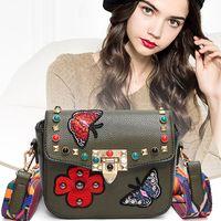 Wholesale Red Flower Purse - Rivet Butterfly Flower Embroidery Women Messenger Bags Crossbody Bag Women Famous Brands Designer Woman Leather Handbags Purses