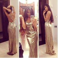 Wholesale One Sleeve Prom Dresses Sparkly - Sexy Sparkly Gold Sequined Mermaid Prom Party Dresses 2017 Deep V Neck Open Back Floor Long Vestidos de Fiesta Formal Evening Dresses Cheap