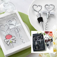 Free Ship 5 Set Caixa de presente Chrome Heart Bottle Stopper Abridor de garrafa de vinho Metal corkscrew Wedding Party Bar Tool Favors Xmas Gift