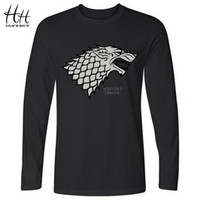All'ingrosso- HanHent Inverno sta arrivando Direwolf T-shirt House Stark Cotone T-shirt uomini Casual Manica lunga T-shirt Maglia Game of Thrones LT0460