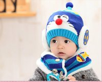 Cartoon Baby Hüte Beanie Schal Mode häkeln Garn Mützen Halstuch Outdoor warme Hut Winter Newborn Beanie Kinder Wolle Strickmützen