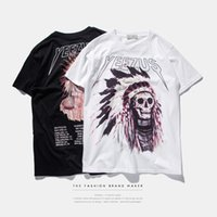 Wholesale skull indian - S-3XL 2017 American stamp tide brand men's leisure Street Indian chief skull t-shirt yeezus