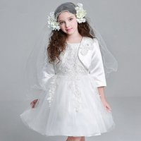 Wholesale floral bow shorts children for sale - Group buy 2017 New Weddings Events Baby Girls Dress children Clothing Floral Long sleeve Dresses Flower Lace Princess Skirt Kids Girl Clothes