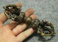"Wholesale Ho Box - 5"" Tibet Buddhism Copper Bronze Pestle Vajra Instruments Statue Phurba Dagger Ho"