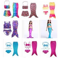 Wholesale Girls Baby Swimming Costumes - Baby Mermaid Swimwear Girls Mermaid Cosplay Custume Swimsuit Bikini Swimwear Swimming Costume Kids Girls Swimsuit Bikini KKA1941
