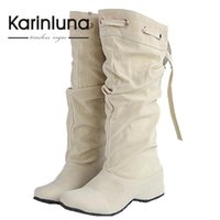 Wholesale Increase Calf Size - Wholesale-Brand Design Half Knee Boots Solid Spring Winter Shoes Lady's Round Toe Shoes Woman Increasing Height Shoes Big Size 34-43