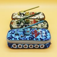 Wholesale Camouflage Pencil Case - boy large capacity camouflage tank design pencil bag cases Oxford fabric pencil pouch pen sack school kids gifts prizes