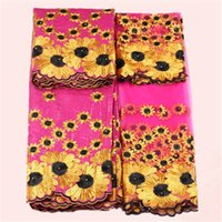 Wholesale Amazing Fabric Flowers - Amazing wedding African flower embroidery bazin lace and 2yard of French net lace fabric for dress set NBN7