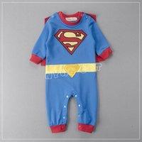 Wholesale Baby Superman Jumpsuit - Retail Superman infant clothes baby boys Rompers toddler superhero long sleeve spring autumn jumpsuit Cloak Overalls E13003