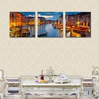 Wholesale Venice Oil Paintings - 3 Panels Venice Night View Canvas Paintings Artwork Print Landscape Wall Art Painting with Wooden Framed For Home Decoration Ready to Hang