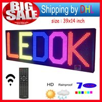 """Wholesale Outdoor Led Display Prices - free shipping LED sign RGB 39 """"x14"""" remote control Programmable rolling outdoor LED display can replace the 7-color oil price board"""