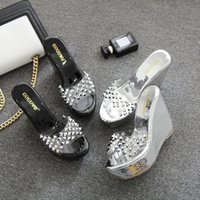 Wholesale Pvc Robes - 2017 Summer Waterproof Platform With High-Heeled High-Heeled Robe With Transparent Rhinestones Rivets Slope With A Word Sandals Slippers