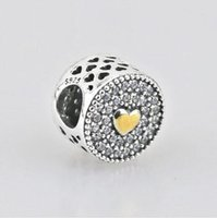 Wholesale Sterling Heart Love - WHOLESALE!Two tone heart love Affection Charm 100% 925 Sterling Silver Clear zircon paved round bead Fits EUROPEAN Bracelets DIY Jewelry