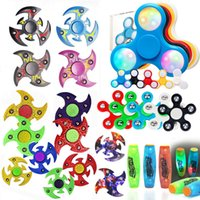 Wholesale Newest LED Crystal Patterns Fidget Spinner Hand Spinner Fashion EDC Toys Autism and ADHD decompression finger spinners Light up Colorful