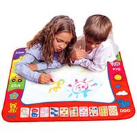 çocuk oyuncakları toptan satış-80x60 cm Bebek Çocuklar Sihirli Kalem ile Su Ekleyin Doodle Boyama Resim Su Çizim Oyuncaklar Çizim Kurulu Mat Kurulu Hediye Noel