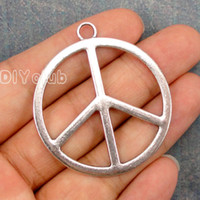 Wholesale Large Antique Pendant - 50pcs-Peace charms, Antique Bronze Tibetan Silver Angel Wing Large Hollow Peace Sign 2 Sided Charm Pendant Connector DIY Jewelry Making