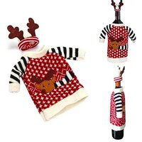 Venda Por Atacado - 1 Piece Cute Sweater Red Wine Bottle Cover Bags Papai Noel Dinner Table Decoration Clothes With Hats Home Party Decors
