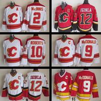 Wholesale Jarome Iginla Jersey - Throwback Calgary Flames jersey Stitched 2 Al MacInnis 9 Lanny McDonald #10 Gary Roberts #12 Jarome Iginla CCM Vintage Ice hockey jerseys
